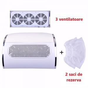 Colector praf HotNails Mare cu 3 ventilatoare  + 2 saci de rezerva HN301